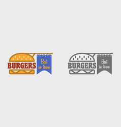 hamburger icon fast food sign burger symbol vector image