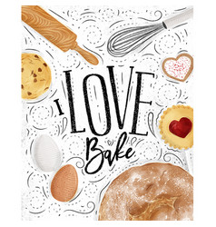 poster love bake vector image