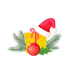 santa hat on giftbox near evergreen christmas tree vector image