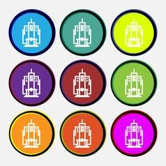 skyscraper icon sign Nine multi colored round vector image