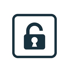 unlock icon Rounded squares button vector image