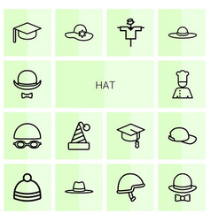 14 hat icons vector