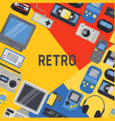 90s devices banner poster vector