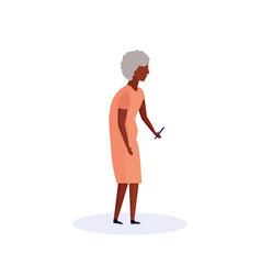 African old woman using smartphone elderly vector