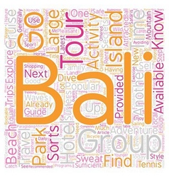 Bali What To Do And Where To Go text background vector image