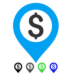 Bank map marker flat icon vector