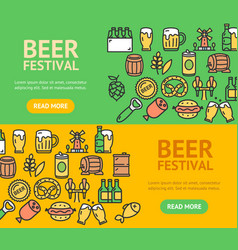 Beer and oktoberfest signs banner horizontal set vector