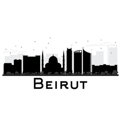 Beirut City skyline black and white silhouette vector image