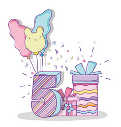 birthday celebrate five year with presents vector image