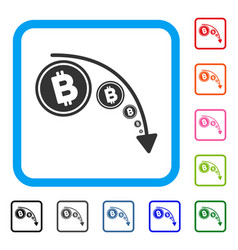 bitcoin reduce trend framed icon vector image