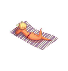 blonde girl sunbathing lying on towel and reading vector image