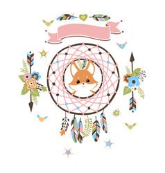 Boho dream catcher with baby fox inside vector