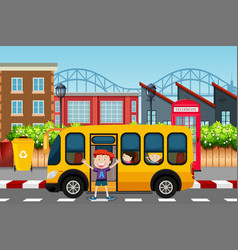 Boy infront of school bus scene vector