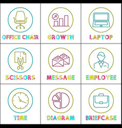 bright round linear icons for business app set vector image