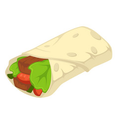 Burrito with leaf mexican food with bread vector