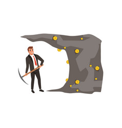 Businessman in formal black suit with pickaxe in vector