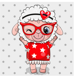 Cartoon sheep with red glasses on a dots vector