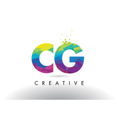 Cg c g colorful letter origami triangles design vector