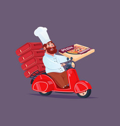 Chef cook riding red motor bike fast pizza vector