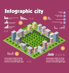 City isometric infographics vector