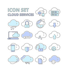 cloud data icons global connection internet vector image
