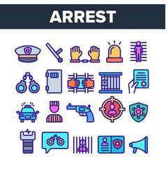 Color arrest elements sign icons set vector