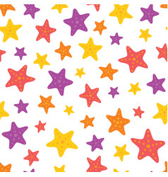 Colorful starfish on white seamless pattern vector