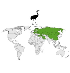 Common Crane breeding grounds vector