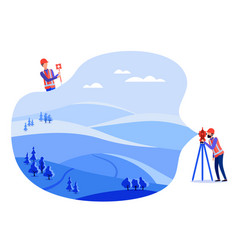 Concept land surveyors cadastral engineers vector