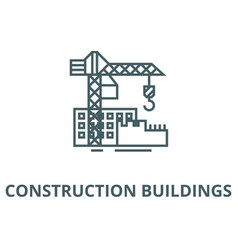 Construction buildings line icon vector