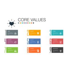 Core values infographic 10 option line concept vector