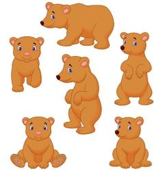 Cute brown bear cartoon collection vector