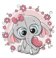 Cute cartoon elephant girl with heart and flowers vector