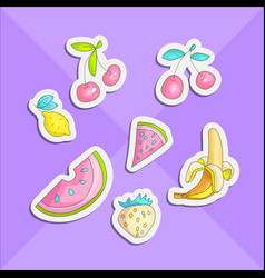 Cute funny girl teenager colored stickers set vector