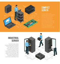 Datacenter isometric horizontal banners vector
