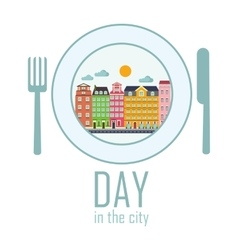 day in the city vector image