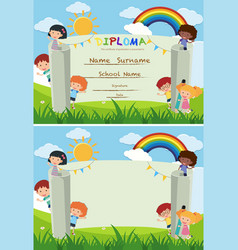 Diploma and card template with kids in the park vector