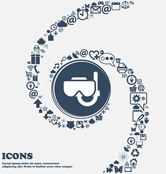 Diving mask icon in the center Around the many vector image