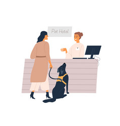 dog owner and animal at reception pet hotel vector image