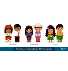 dominica guatemala hawaii men and women in vector image