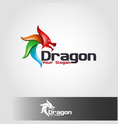dragon - animal logo vector image