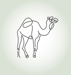 Dromedary camel in minimal line style vector