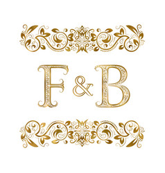 F and b vintage initials logo symbol vector