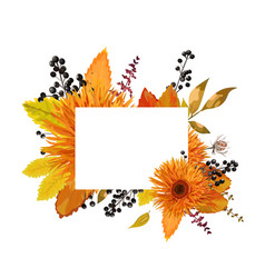 Floral design card of autumn orange gerbera vector