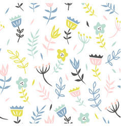 floral seamless pattern with cute flower and vector image
