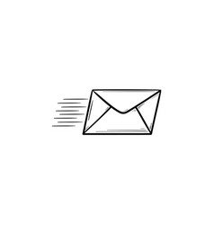 flying mail hand drawn outline doodle icon vector image