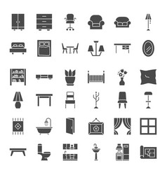 furniture solid web icons vector image