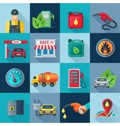 Gas station square icons set vector