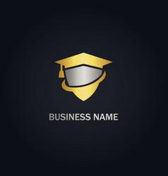 Graduation shield university gold logo vector
