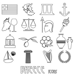 greece country theme symbols and outline icons set vector image